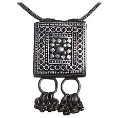 Ethnic Indian 830-900 Silver Tribal Pendant Necklace