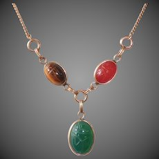 Egyptian Revival Gold Filled Stone Scarab Y Necklace