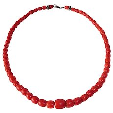 """Natural Red Coral Graduated Bead 17.5"""" Necklace"""