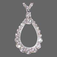 14k Open Teardrop Diamond Pendant Necklace
