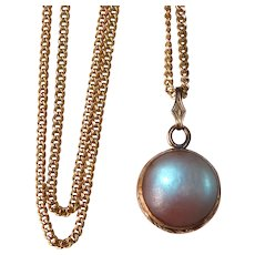 Antique Victorian Saphiret Orb Gold Filled Pendant Necklace