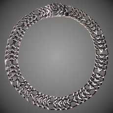 Mexican Sterling Wide Chain Collar Necklace
