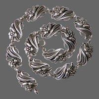 Viking Craft Sterling Lily Floral Link Necklace