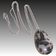 Spotted Agate Double Sided Pendant Sterling Chain