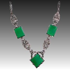 Art Deco Sterling & Marcasite Necklace w 3 Chrysoprase Cabochons