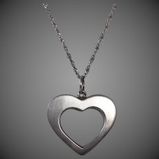 Mexican Sterling Heart Pendant & Chain