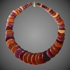 Graduated Wooden Disk Necklace of Different Wood