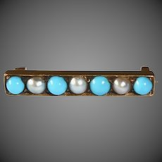 14k Edwardian Lace Pin Turquoise & Seed Pearls