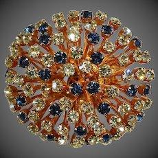 Mid Century Austrian Sparkling Citrine & Sapphire Paste Sputnik Pin