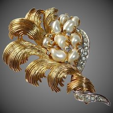 Marcel Boucher Sculptural Gold Tone Pin w Baroque Pearls & Rhinestones