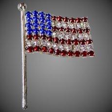 Patriotic USA Rhinestone Flag Pin