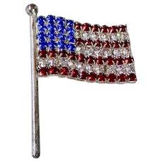 USA Patriotic Rhinestone Flag Pin