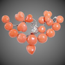 Antique Victorian 800 Silver Salmon Pink Coral Puffy Heart Dangle Brooch