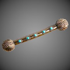 Victorian Gold Filled Bar Pin w Turquoise