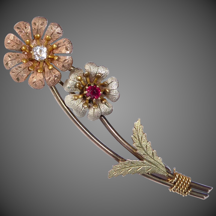 aa8ce0c1e Victorian Tri Color Gold Filled Flower Spray Pin Paste Stones : BeJewelled  | Ruby Lane