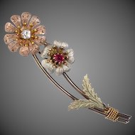 Victorian Tri Color Gold Filled Flower Spray Pin Paste Stones