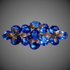 Art Deco Vibrant Blue Glass Jewel & Bronze Pin