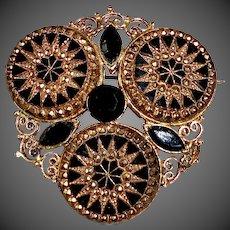 Gold Tone Filigree & Flashed Glass Costume Pin