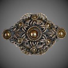 Ornate Dimensional Layered Brass Filigree Brooch