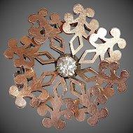 Victorian Rose Gold Top Snowflake Pin