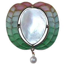 Art Nouveau Sterling Plique a Jour Enamel & Mother of Pearl Pin