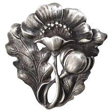 Arts & Crafts Sterling Poppy Pin by Jo Michels