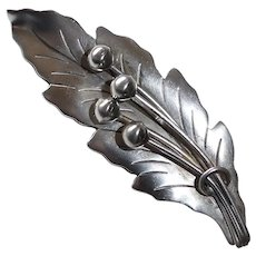 Mexican Sterling Sculpted Leaf Pin Signed, Eagle Mark
