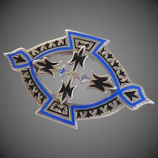 Superb Victorian Engraved Sterling & Enamel Layered Pin