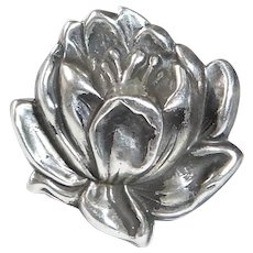 Art Nouveau Sterling Repousse Water Lily Watch Pin