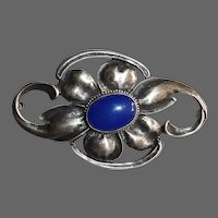 Large Sterling Floral Pin w Chalcedony Cabochon