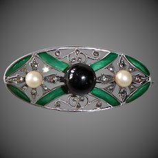 Art Deco Sterling Pin w Enamel Marcasite Onyx Pearl