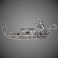 Sterling Filigree Italian Gondola Venice Victorian Souvenir Pin