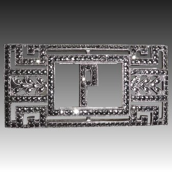 Art Deco Sterling & Sparkling Marcasite P Initial Pin