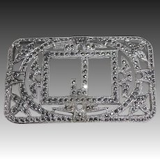 Art Deco Sterling & Sparkling Marcasite J Initial Pin