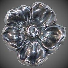 Art Nouveau Sterling Repousse Flower Pin