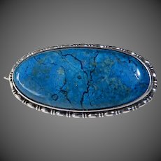 Art Deco Sterling Silver Framed Sodalite Cabochon Pin