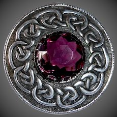 Scottish Iona Sterling Celtic Brooch w Classic Knot Design & Amethyst Paste