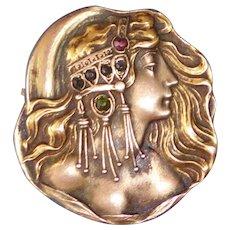 Art Nouveau Brass Exotic Woman w Jeweled Headdress Watch Pin