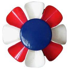 Patriotic Red White & Blue Enamel Sculptural Flower Pin c1960s