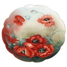 Limoge Porcelain Signed Platter Hand Painted Poppies