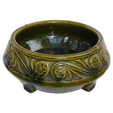 Arts & Crafts Stone Ware Low Green Bowl w Raised Design