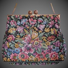French Floral Tapestry Evening Purse