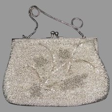 Beaded Silver Evening Purse w Floral Design