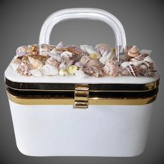 Exotic Seashell Top Mid Century Box Style Purse w Lucite Handle