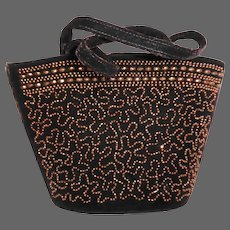 Dark Chocolate Brown Velvet Purse w Flashed Glass Beading