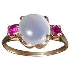 10k Retro Moonstone & Synthetic Ruby Ring