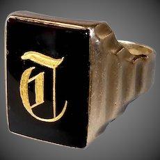 10k Onyx Ring w Gold Leaf Initial T