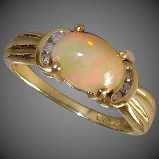 10k Apricot Opal & Diamond Ring