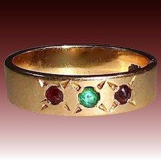 Victorian 14k Rose Gold Emerald & Garnet Baby Ring