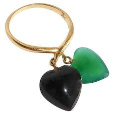 14k Art Deco Ring w Hanging Chrysoprase & Onyx Hearts